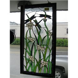 COLORFUL GLASS WINDOW HANGING WITH DRAGONFLIES