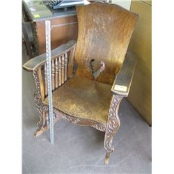 LARGE CARVED FRONT OAK ROCKER