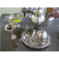A LOT OF SILVERPLATE, TEAPOT ETC.