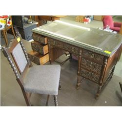 CARVED DESK WITH MATCHING CHAIR - BARLEY TWIST BASE & GLASS TOP