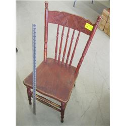 PRESS BACK WOODEN CHAIR