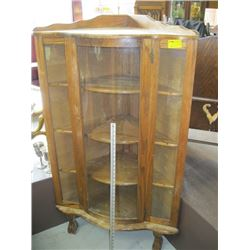 CURVED GLASS CORNER CABINET