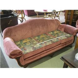 SOFA & MATCHING CHAIR WITH WOOD TRIM