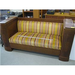 STRIPED HEAVY WOOD INLAYED BENCH SEAT