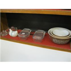 SHELF OF MISC 3 PC MIXING BOWLS, BUTTER DISHES, CHICKEN DISH, JUICERS ETC.