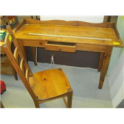 PINE HALL DESK/STUDENT'S DESK WITH LADDER BACK CHAIR