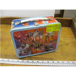 NFL METAL LUNCHBOX WITH THERMOS & ASSORTED HELMETS INSIDE