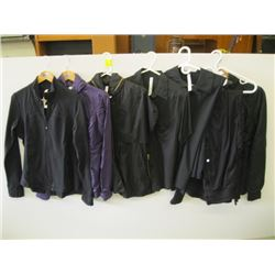 7 PCS OF LULU LEMON CLOTHING (SIZE 6 - SIZE 12) 4 JACKETS, 2 SHIRTS, 1 PR OF PANTS