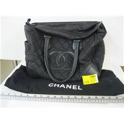 AUTHENTIC USED CHANEL BAG WITH CARD V1N#10822328 (CLOTH & LEATHER)