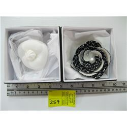 2 FLOWER CHANEL BROOCHES