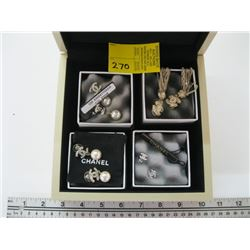 4 PR OF CHANEL EARRINGS IN A CHANEL BOX (SOME DAMAGE TO BACK OF BOX)