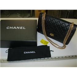 AUTHENTIC CHANEL DOUBLE FLAP PURSE WITH GOLD CHAIN, CARD #13298904 WITH BAG & BOX (LOOK NEW)