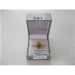 LADIES 18K DIAMOND/EMERALD RING WITH LOCAL APPRAISAL $2,095.00 - sz 7 approx.