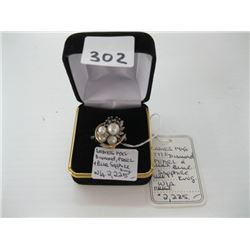 LADIES 14K DIAMOND/PEARL & BLUE SAPPHIRE RING WITH LOCAL APPRAISAL $2,225.00 - sz 6 1/2 approx.