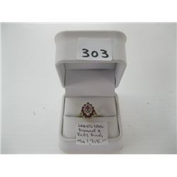 LADIES 10K DIAMOND/RUBY RING WITH LOCAL APPRAISAL $1,715.00 - sz 5 1/4 approx.