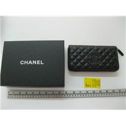 AUTHENTIC CHANEL ZIPPERED WALLET (NEW) CARD #18648303 WITH ORIGINAL BOX