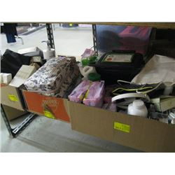 3 BOXES OF MISC BATHROOM ACCESSORIES, TOOTHBRUSHES, SOAP ETC.