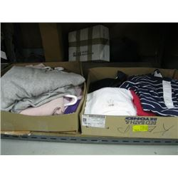 2 BOXES OF MISC SHIRTS, PULLOVERS, SWEATERS