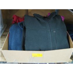 BOX OF ASSORTED ZIPPERED PULLOVERS ETC.