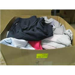 BOX OF ASSORTED SWEATERS, PANT & JACKET SET ETC.