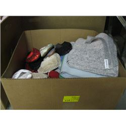BOX OF MISC SCARVES, SLIPPERS ETC.