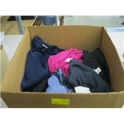 BOX WITH ASSORTED PANTS, OAKLEY JACKET, TOM FORD SWEATER ETC.