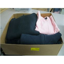 BOX OF ASSORTED SWEATERS, PULLOVERS ETC.