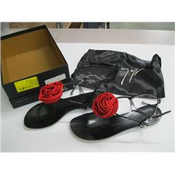 PR OF VERO CUOIO SANDALS WITH RED ROSES SIZE 39