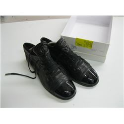 PR OF CHANEL BLACK BOTTOM LACE-UP SHOES - SIZE 8 APPROX.