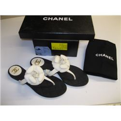 PR OF NEW CHANEL SIZE 38 SANDALS WITH WHITE FLOWER