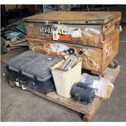 Pallet Rolling Metal & Black Hard Plastic Tool Boxes w/ Tools, Dayton Motor, etc
