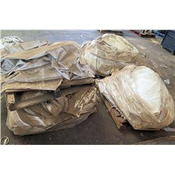 Qty 3 Pallets Misc Tarps & Tent Panels & Box Scrap Fabric