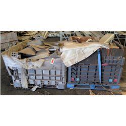 Qty 2 Plastic Bins Curved Metal 1000 G Plates, Poles, Fittings, Tarps, etc