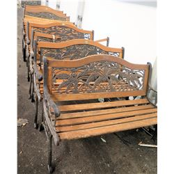 Qty 10 Wood & Iron Garden Benches w/ Armrests (some damaged/missing parts)