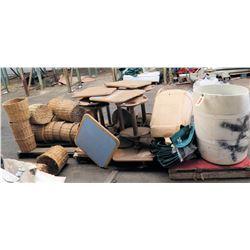 Multiple Pedestal Tables, Straw Baskets & Ohana Health Plan Bags 40x35x54cm