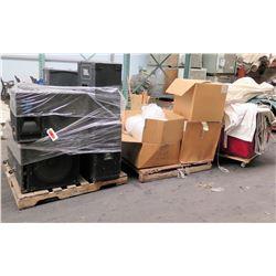 Qty 3 Pallets Yamaha, Tapco & JBL Speakers, Ear Plugs, Tarps, Sign Holders, etc