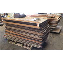 Qty 2 Pallets Wooden Rectangular Folding Tables w/ Metal Legs