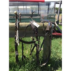 Set of 1200 lb size harness, comes with spread rings, and breeching,
