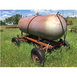 500 gal. Propane tank on 4 wheel farm trailer