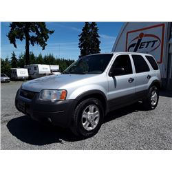 "F2 --  2003 FORD ESCAPE XLT , Silver , 220417  KM's ""NO RESERVE"""