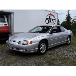H6 --  2001 CHEVROLET MONTE CARLOS SS , Silver , 165805  KM's