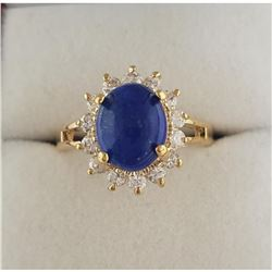 Beautiful 1.79ct Oval Cut Blue Lapis Lazuli Gemstone Ring
