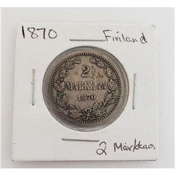 1870 Finland 2 Markkaa