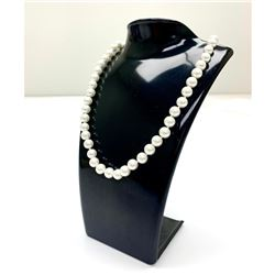 Ladies Akoya Pearl Princess Style Necklace with 18K Gold Plated Clasp