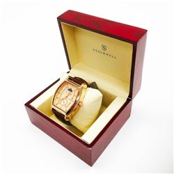 Men's Stockwell MOON Automatic Watch With Genuine Leather Strap & Gift Box