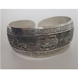 Lotus Flower Silver Toned Bangle Cuff