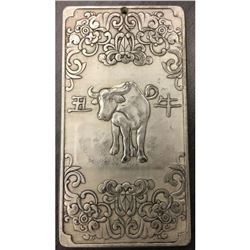 Tibetan Silver Bullion with A Bull Landscape Design