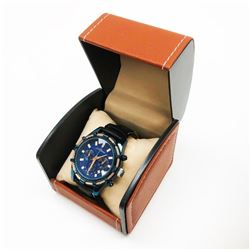 Mens L.A Banus Ocean Blue Gloss Finish & Genuine Leather Band Chronograph Watch