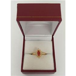 Ladies Elegant 0.51 ct Red Quartz Marquise Cut Ring