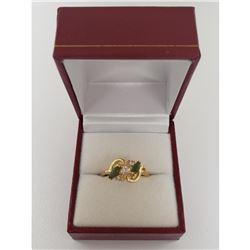 Exquisite Ladies 0.22 ct Marquise Cut Green Semi-Precious Gemstones Ring